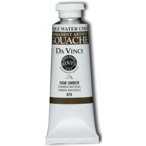 Da Vinci Artists' Gouache Opaque Watercolor 37ml Raw Umber; Color: Brown; Format: Tube; Size: 37 ml; Type: Gouache, Watercolor; (model DAV474), price per tube