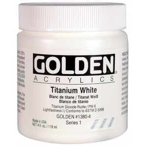 Golden® Heavy Body Acrylic 4 oz. Titanium White: White/Ivory, Jar, 118 ml, 4 oz, Acrylic, (model 0001380-4), price per each