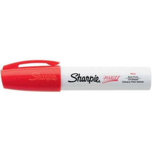 Sharpie® Oil Paint Marker Bold Red: Red/Pink, Paint, Chisel Nib, (model SN35565), price per each