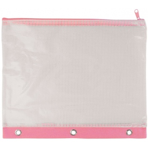 "Alvin® 3-Ring Binder Mesh Bag 8"" x 11"" Pink Trim; Color: Red/Pink; Material: Vinyl; Size: 8"" x 11""; Type: Mesh Bag; (model NBR811P), price per each"