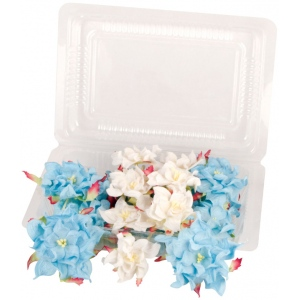 """Dimensional Paper Flowers Blue/White; Color: Black/Gray, White/Ivory; Material: Paper; Size: 2"""", 3""""; Type: Dimensional; (model BHS107520), price per box"""