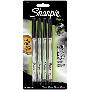Sharpie® Pen 4-Color Set: Multi, Fine Nib, (model SN1742662), price per set