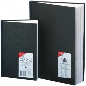"""Cachet® 9 x 6 Classic Black Sketch Book; Binding: Wire Bound; Color: White/Ivory; Format: Book; Quantity: 106 Sheets; Size: 6"""" x 9""""; Weight: 70 lb; (model CS1005), price per each"""
