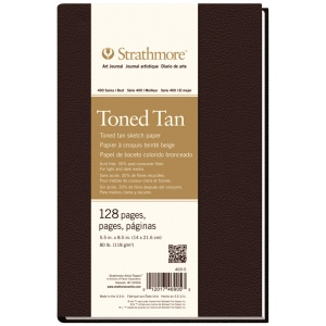 """Strathmore® 400 Series 5 1/2"""" x 8 1/2"""" Sewn Bound Toned Tan Sketch Art Journal; Color: White/Ivory; Format: Journal; Quantity: 128 Sheets; Size: 5 1/2"""" x 8 1/2""""; Type: Sketching; (model ST469-5), price per each"""