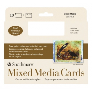 "Strathmore® 400 Series Mixed Media Full Size Cards 10-Pack: White/Ivory, Card, 10 Cards, 5"" x 6 7/8"", Mixed Media, (model ST105-462), price per 10 Cards"