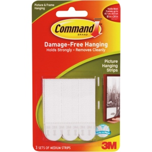 Command™ White Medium Hanging Strips; Color: White/Ivory; Type: Picture Hanging Strips; (model 17201), price per pack