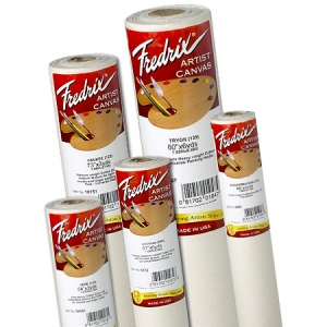 """Fredrix® Artist Series 54 x 3yd Acrylic Primed Cotton Canvas Roll; Color: White/Ivory; Format: Roll; Material: Cotton; Size: 56"""" x 3 yd; Type: Acrylic, Primed; (model T10801), price per roll"""