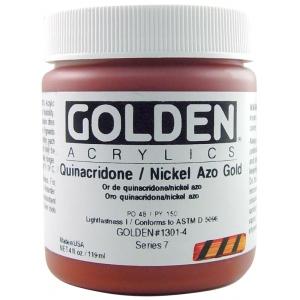 Golden® Heavy Body Acrylic 4 oz. Quinacridone/Nickel Azo Gold; Color: Metallic, Yellow; Format: Jar; Size: 118 ml, 4 oz; Type: Acrylic; (model 0001301-4), price per each