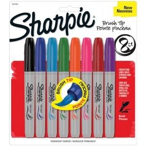Sharpie® Brush Markers 8-Color Set: Multi, Brush Nib, Fine Nib, (model SN1810703), price per set