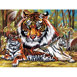 "Reeves™ Large Acrylic Painting By Numbers Set Tigers: 12"" x 15 1/2"", (model PL43), price per each"