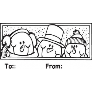 Sarasota Stamps Mounted Rubber Stamp Snowmen To/From ; Material: Rubber; Mounted: Yes; (model SSD-1002), price per each