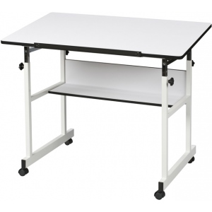 "Alvin® MiniMaster™ II Table White Base with White Top; Angle Adjustment Range: 0 - 30; Base Color: White/Ivory; Base Material: Steel; Height Range: 29"" - 41""; Top Color: White/Ivory; Top Size: 24"" x 40""; (model MM40-4-XB), price per each"