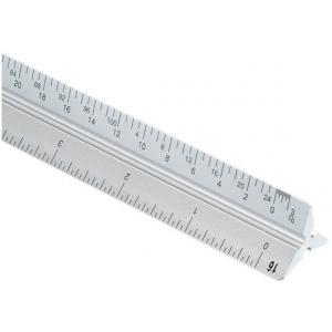 """Alvin® 2200M Series 24"""" Aluminum Architect Triangular Scale: White/Ivory, Aluminum, 24"""", Architect, (model 2200M-124), price per each"""