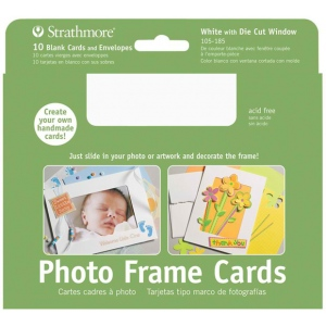 "Strathmore® Photo Frame Cards 10-Pack White: White/Ivory, Envelope Included, Card, 10 Cards, 5"" x 6 7/8"", 80 lb, (model ST105-185), price per 10 Cards"