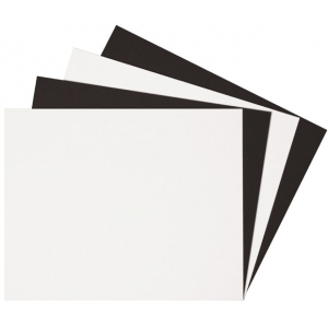 "Alvin® Black & White Mat Board 16 x 20; Color: Black/Gray, White/Ivory; Format: Sheet; Quantity: 25 Sheets; Size: 16"" x 20""; Type: Mat Board; (model BW1620-25), price per 25 Sheets box"