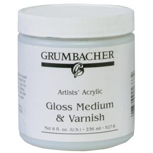 Grumbacher® Gloss Medium and Varnish for Acrylics; Finish: Gloss; Format: Jar; Size: 8 oz; Type: Varnish; (model GB5278), price per each