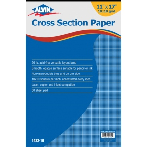 "Alvin® Cross Section Paper 10"" x 10"" Grid 50-Sheet Pad 11"" x 17""; Format: Pad; Grid Size/Pattern: 10"" x 10""; Quantity: 500 Sheets; Size: 11"" x 17""; Type: Drawing; Weight: 20 lb; (model 1422-10), price per 500 Sheets pad"