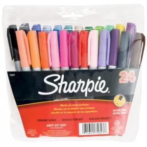 Sharpie® Ultra Fine Point Permanent Marker 24-Color Set; Color: Multi; Tip Type: Fine Nib; (model SN75847), price per set