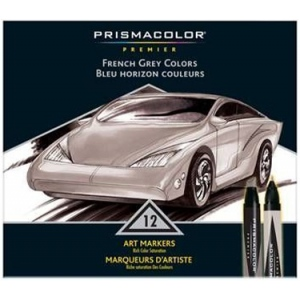 Prismacolor® Premier Art Marker 12-Color French Grey Set: Multi, Double-Ended, Alcohol-Based, Dye-Based, Extra Broad Nib, Fine Nib, (model BP12R), price per set