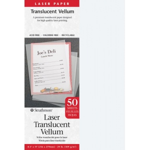 "Strathmore® 8.5"" x 11"" Laser Printable Translucent Vellum; Color: White/Ivory; Format: Sheet; Quantity: 50 Sheets; Size: 8 1/2"" x 11""; Type: Vellum; (model ST59-854), price per 50 Sheets"