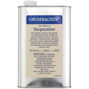 Grumbacher® Turpentine 32oz: Can, 32 oz, Solvents, (model GB56832), price per each