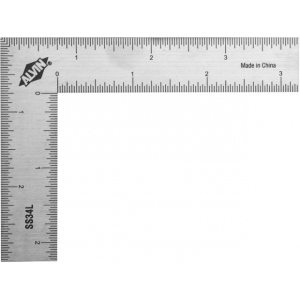 "Alvin® 3"" x 4"" L-Square Stainless Steel Ruler: Metallic, Steel, 3"" x 4"", L-Square, (model SS34L), price per each"