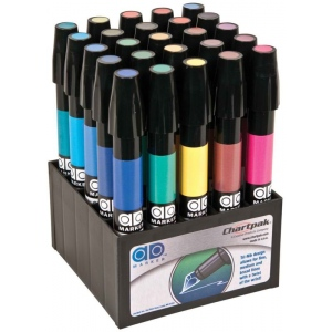 Chartpak® AD™ Marker 25-Color Basic Set: Multi, Xylene-Based, Fine Nib, (model SETA), price per set