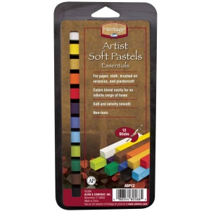 Heritage Arts™ Artist Grade Soft Essential 12-Color Pastel Set: Multi, Stick, Soft, (model ASP12), price per set