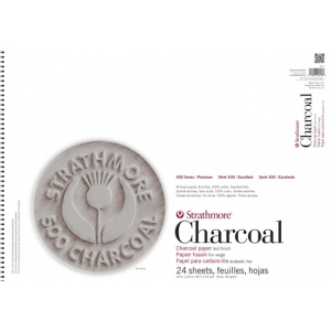 """Strathmore® 500 Series 18"""" x 24"""" Assorted Tints Wire Bound Charcoal Pad; Binding: Wire Bound; Color: Assorted; Finish: Laid; Format: Pad; Quantity: 24 Sheets; Size: 18"""" x 24""""; Type: Charcoal; Weight: 64 lb; (model ST561-3), price per 24 Sheets pad"""