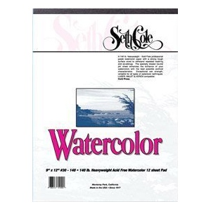 "Seth Cole 11 x 15 Cold Press Watercolor Paper Pad; Format: Pad; Quantity: 12 Sheets; Size: 11"" x 15""; Texture: Rough; Weight: 90 lb; (model SC30-90A), price per 12 Sheets pad"