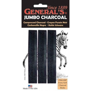 General's® Extra-Soft Compressed Charcoal Sticks; Color: Black/Gray; Degree: Extra Soft; Format: Stick; Type: Compressed; (model G966ABP), price per pack