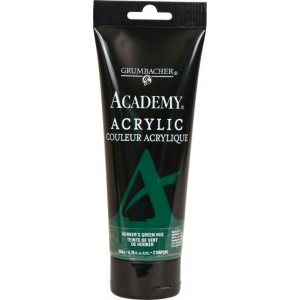 Grumbacher® Academy® Acrylic Paint 200ml Hooker's Green Hue; Color: Green; Format: Tube; Size: 200 ml; Type: Acrylic; (model GBC105P200), price per tube