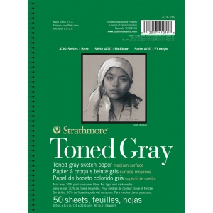 """Strathmore® 400 Series 5 1/2"""" x 8 1/2"""" Toned Gray Wire Bound Sketch Pad; Color: Black/Gray; Format: Pad; Quantity: 50 Sheets; Size: 5 1/2"""" x 8 1/2""""; Type: Sketching; (model ST412-105), price per 50 Sheets pad"""