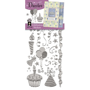 "Dazzles™ Stickers Silver Celebration: Metallic, 4"" x 9"", Outline, (model HOTP1850), price per each"