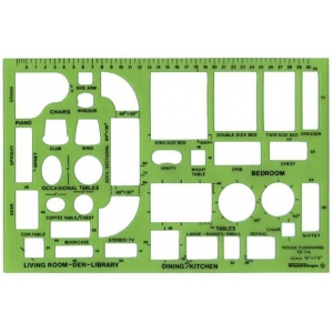 "Alvin® Design Templates House Furnishings Template; Scale: 1/4"" = 1'; (model TD714), price per each"