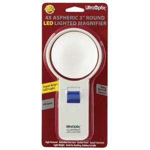"Ultraoptix® 4x Round LED Lighted Magnifier: 4x, 3"", Handheld, (model SV3LPLED), price per each"