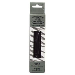 Winsor & Newton™ Artists' Vine Charcoal Medium Set: Black/Gray, Medium, Stick, Vine, (model 7005162), price per box