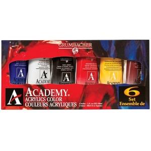 Grumbacher® Academy® Acrylic Paint 6-Color Set; Color: Multi; Format: Tube; Size: 90 ml; Type: Acrylic; (model GBC1026SET), price per set