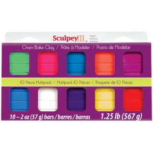 Sculpey® III Polymer Clay Multipack Bright; Color: Multi; Format: Bar; Material: Polymer; Quantity: 10-Pack; Size: 2 oz; (model S3MP05001), price per set