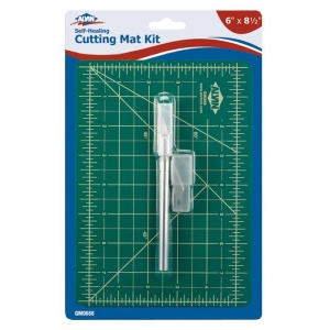 "Alvin® Self-Healing Cutting Mat Kit 6"" x 8 1/2"": Black/Gray, Green, Grid, Vinyl, 6"" x 8 1/2"", 3mm, Cutting Mat"