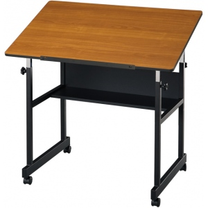 "Alvin® MiniMaster™ Table Black Base with Woodgrain Top; Angle Adjustment Range: 0 - 30; Base Color: Black/Gray; Base Material: Steel; Height Range: 27"" - 40""; Top Color: Brown; Top Size: 24"" x 36""; (model MM36-3-WBR), price per each"