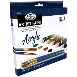 Royal & Langnickel® 12ml Acrylic Paint 18-Color Set; Color: Multi; Format: Tube; Size: 12 ml; Type: Acrylic; (model RACR18), price per set