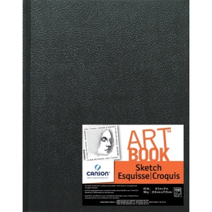 "Canson® ArtBook™ Artist Series 8.5"" x 11"" Hardbound Sketchbook: Sewn Bound, White/Ivory, Book, Black/Gray, 108 Sheets, 8 1/2"" x 11"", Sketching, 65 lb, (model C100510413), price per each"