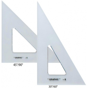 "Alvin® 6"" & 8"" Transparent Triangle Set; Angle: 30/60, 45/90; Size: 6"", 8""; Type: Triangle; (model AS680), price per set"