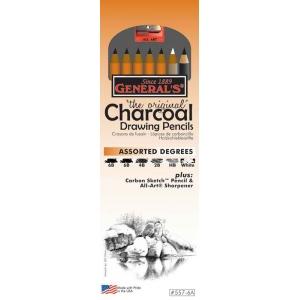 General's® Charcoal Drawing Pencil Set: Black/Gray, White/Ivory, 2B, 4B, 6B, Pencil, (model G557-6A), price per set