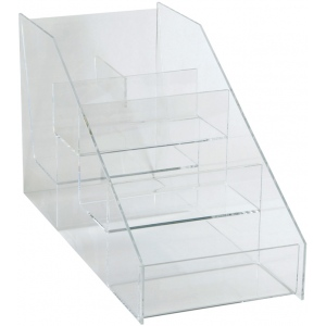"Acrylic Rack: 5 Sections, 6 1/2""W x 8 1/4""H x 14 1/4""D"
