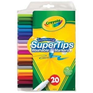 Crayola® Super Tips Washable Marker 20-Color Set: Multi, Washable, (model 58-8106), price per set