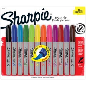 Sharpie® Brush Markers 12-Color Set; Color: Multi; Tip Type: Brush Nib, Fine Nib; (model SN1810704), price per set