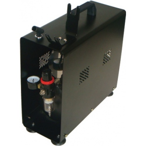 Paasche DC600R Air Compressor (1/6 HP) with Tank, Case and Regulator: 1/8 HP, with auto shutoff