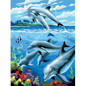 "Royal & Langnickel® Painting by Numbers™ 8 3/4 x 11 3/8 Junior Small Set Dolphins; Board Size: 8 3/4"" x 11 3/8""; (model PJS24), price per set"